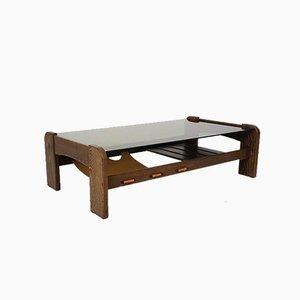 Table Basse en Verre, Wengé et Cuir, 1970s