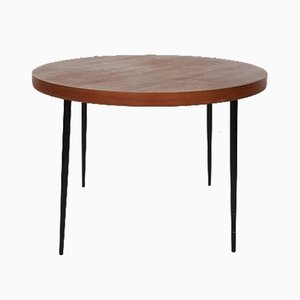 Round Mid-Century Teak & Metal Dining Table