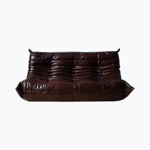 Sofá Togo vintage de cuero marrón de Michel Ducaroy para Ligne Roset, años 70