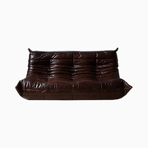 Vintage Brown Leather 3-Seater Togo Sofa by Michel Ducaroy for Ligne Roset, 1970s