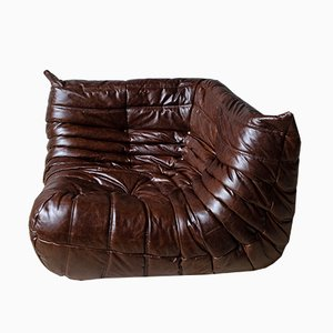 Vintage Brown Leather Togo Corner Couch by Michel Ducaroy for Ligne Roset, 1970s
