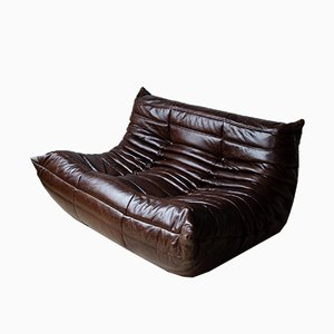 Vintage Brown Leather 2-Seater Togo Sofa by Michel Ducaroy for Ligne Roset, 1970s