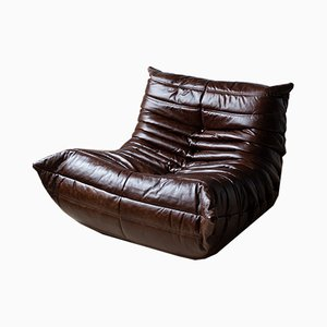 Vintage Brown Leather Togo Lounge Chair by Michel Ducaroy for Ligne Roset, 1970s