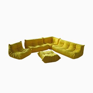 Yellow Microfiber Togo Living Room Set by Michel Ducaroy for Ligne Roset, 1970s