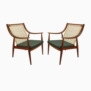 Model FD146 Danish Cane Back Easy Chair by P. Hvidt & O. Mølgaard-Nielsen for France & Søn, 1960s, Set of 2