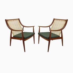 Model FD146 Danish Cane Back Easy Chair by P. Hvidt & O. Mølgaard-Nielsen for France & Søn, 1960s, Set of 2