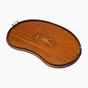 Edwardianisches Tablett aus Mahagoni mit Intarsien