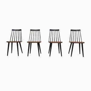 Schwedische Holzspeichenstühle von Yngve Ekström für Nesto, 1960er, 4er Set