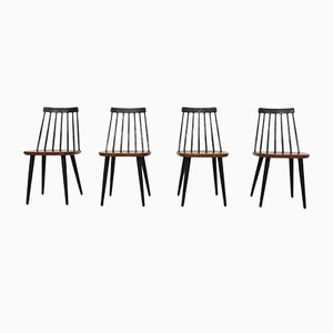 Swedish Spindle Back Chairs by Yngve Ekström for Nesto, 1960s, Set of 4