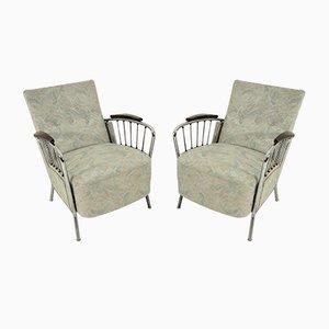 Vintage Sessel mit verchromtem Gestell, 1970er, 2er Set