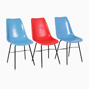 Czechoslovakian Red and Blue Fiberglass Chairs by Miroslav Navratil for Vertex, 1960s, Set of 3