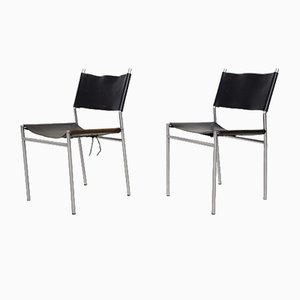 Model SE06 Black Leather Dining Chairs by Martin Visser for 't Spectrum, 1967, Set of 2