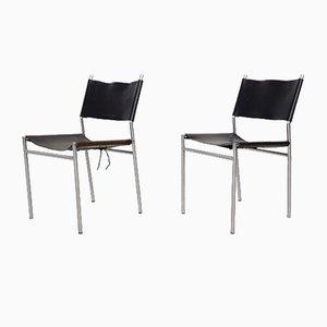 Schwarze Modell SE06 Esszimmerstühle aus Leder von Martin Visser für 't Spectrum, 1967, 2er Set