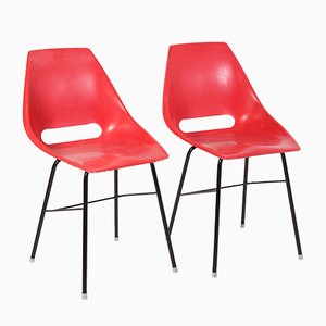 Czechoslovakian Industrial Red Fiberglass Chairs by Miroslav Navratil for Vertex, 1960s, Set of 2
