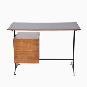 Kleiner italienischer Mid-Century Schreibtisch mit Schubladen in Schwarz & Gelb, 1960er