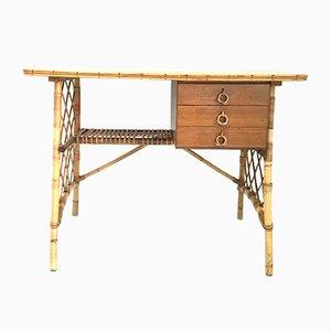 Schreibtisch aus Rattan von Louis Sognot, 1950er