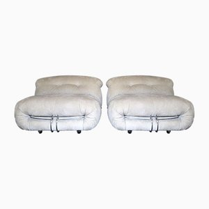 Model Soriana Off White Alcantara Chairs by Tobia & Afra Scarpa for Cassina, 1970s, Set of 2