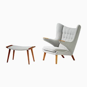 Model AP-19 Papa Bear Oak Chair & Ottoman Set by Hans J. Wegner for A.P. Stolen, 1953