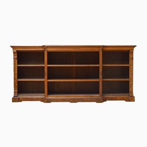 Low Victorian Open Oak Bookcase
