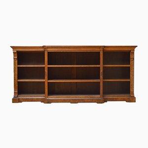 Niedriges viktorianisches Bücherregal aus offener Eiche