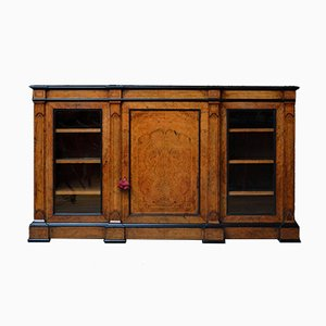 Low Victorian Walnut Bookcase