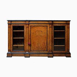 Niedriges viktorianisches Bücherregal aus Nussholz