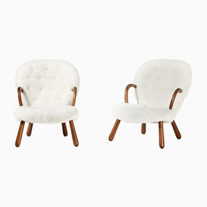 Mid-Century Sheepskin Clamshell Chairs by Philip Arctander for Vik & Blindheim, 1950s, Set of 2