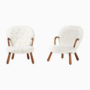 Mid-Century Stühle mit Schafsfellbezug von Philip Arctander für Vik & Blindheim, 1950er, 2er Set