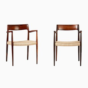 Mid-Century Model 57 Rosewood Armchairs by Niels Otto Møller for J.L. Møllers, 1959, Set of 2