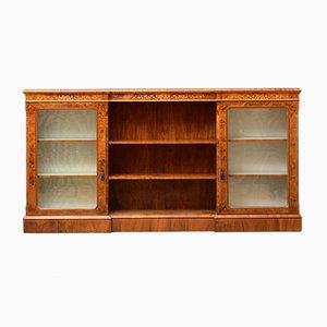 Viktorianisches Bücherregal oder Vitrine aus Nussholz