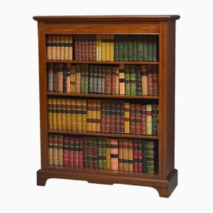 Open Mahogany Inlaid Bookcase, 1920s