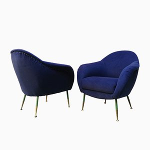 Blue and Brass Armchairs, 1950s, Set of 2