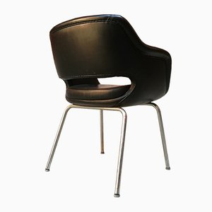 Black Leatherette & Chromed Steel Lounge Chair from Cassina, 1960s