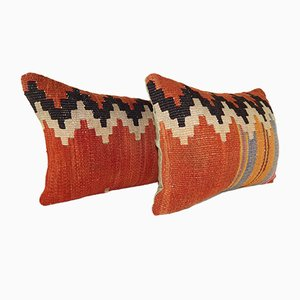 Large Lumbar Kilim Chevron Pillow Covers from Vintage Pillow Store Contemporary, Set of 2