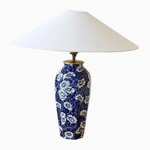 Dunkelblaue schwedische Modell Daisy Tischlampe aus Keramik von Rörstrand, 1940er