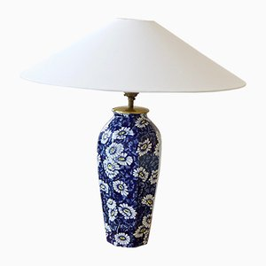 Swedish Model Daisy Dark Blue Ceramic Table Lamp from Rörstrand, 1940s