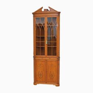 Antique Sheraton Revival Satinwood Corner Cabinet