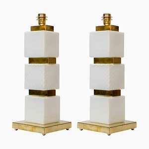 Brass and Murano Glass Lamps, 1980s, Set of 2