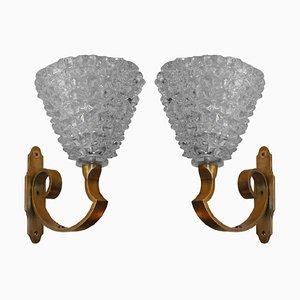 Apliques de pared de cristal de Murano de Barovier & Toso, años 50. Juego de 2