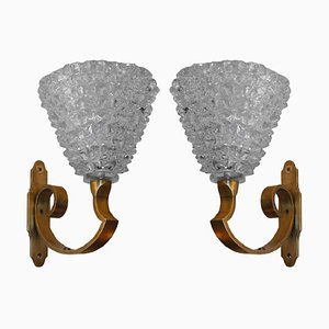 Murano Glass Wall Sconces from Barovier & Toso, 1950s, Set of 2
