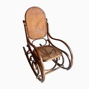 Sedia a dondolo Mid-Century in legno curvato