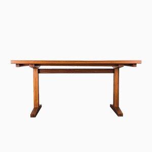 Mesa de comedor danesa extensible de teca, años 60