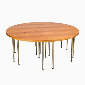 Round Pinwheel Teak Coffee Table Set, 1960s