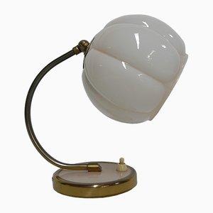 Lámpara de escritorio Art Déco de vidrio rosa, años 30