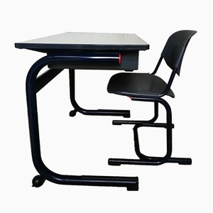 Industrial School Desk & Chair Set by Helmut Starke for Marko, 1980s