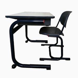 Juego de escritorio y silla de escuela industrial de Helmut Starke para Marko, años 80