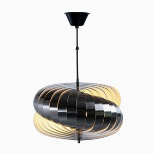 Lámpara colgante francesa Twirling de acero de Henri Mathieu, años 70