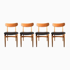 Mid-Century Beech, Ash & Leatherette Dining Chairs, Set of 4