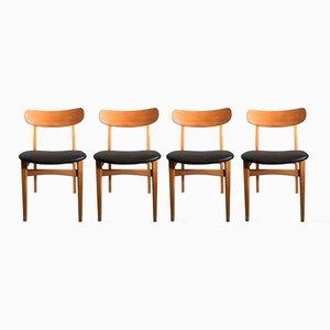 Mid-Century Esszimmerstühle aus Eschenholz & Kunstleder, 4er Set