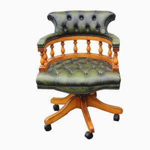 Captain's Chair mit grünem Lederpolster & Gestell aus Mahagoni, 1960er